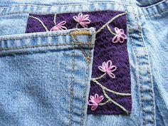 ausgerissene Jeanstasche flicken
