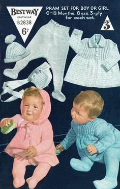 PDF Vintage Baby Bestway B2838 Knitting Pattern Boy & Girl
