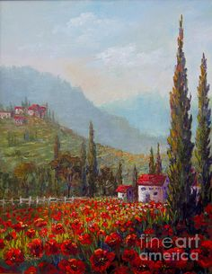 Inspired By Tuscany By Lou Ann Bagnall Inspired By Tuscany By Lou Ann Bagnall I Am Inspired By This Beautiful Landscape Capturing The Tuscan Countryside This Painting Was. Watercolor Landscape, Landscape Art, Landscape Paintings, Watercolor Paintings, Beautiful Paintings, Beautiful Landscapes, Tuscany Landscape, Painting Inspiration, Provence