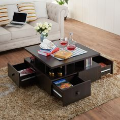 Furniture Of America Terrenal Tiered Espresso 4 Drawer Coffee Table