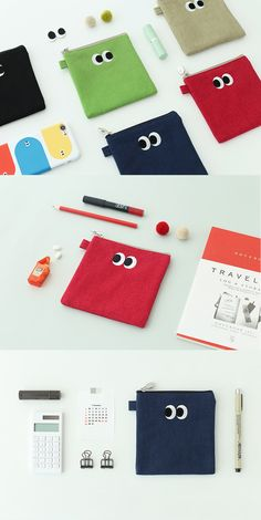 Carry all your small necessities with the SOM SOM Daily Pouch! The flat shape, bright colors, and cute eye designs make for an adorable accessory that will help you organize, too!