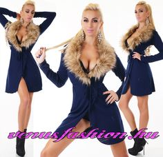 afcd09ff80 Divatos sötétkék prémes női kardigán övvel - Venus fashion női ruha  webáruház , ruha webshop, női ruha
