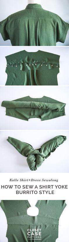Sewing a Shirt Yoke - the Burrito Method // Kalle Sewalong https://closetcasepatterns.com/sewing-a-shirt-yoke-the-burrito-method/