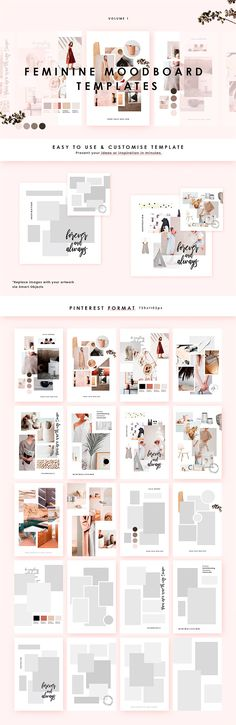Feminine Mood board Templates by William Hansen on @creativemarket