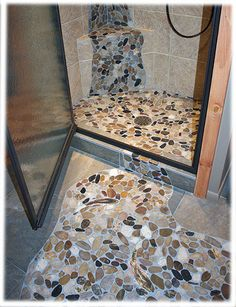 site:www.tileswithstyle.com | rainbow trout shaped mosaic tiles in sliced pebble stone floor design ...