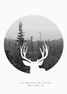 antler oceanDigital DownloadPrintable minimalist deer by SoulReno, $3.00