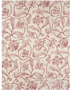 Allover pattern of leaves and flowers and swirling branches. From mid-17c bed hangings. Just red wool on natural linen-cotton twill. Great use of space.