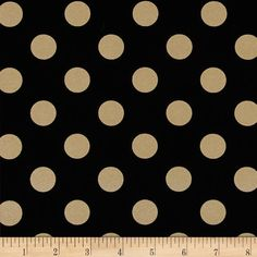 Michael Miller Glitz Metallic Quarter Dot Pearlized Black/Bronze from @fabricdotcom  From Michael Miller, this cotton print is perfect for quilting, apparel and home decor accents. Colors include black with gold metallic polka dots.