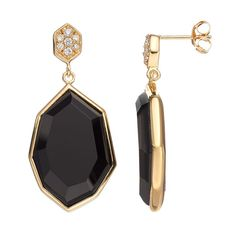Sophie Miller Onyx & Cubic Zirconia 14k Gold Over Silver Drop Earrings, Women's, Black