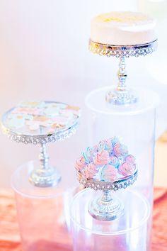 Dessert Pedestals from a Pastel Donut Baby Shower + Gender Reveal on Kara's Party Ideas | KarasPartyIdeas.com (17)
