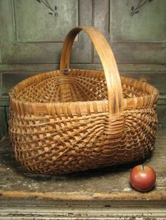 Huge Old Oak Splint Gathering Basket with Thick Bentwood Handle from hannahshouseantiques on Ruby Lane