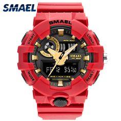 Daily Price $12.59, Buy Men Watches Red Style New Sport Watch Smael Brand Quartz 50Meters Waterproof Relogio masculino erkek saat Men Gift Hot Clock1642
