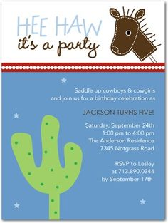Wild West - Birthday Party Invitations in Sky Martini Cowboy Party Invitations, Make Birthday Invitations, Unique Invitations, Invites, Cowboy Birthday Party, Boy Birthday Parties, Birthday Themes For Boys, Western Parties, Tiny Prints