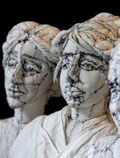 ANNE-VALÉRIE DUPOND textile sculptor – The canvas busts of Virginia Woolf, Camille Claudel and Louise Bourgeois. Material busts of Virginia Woolf, Camille Claudel and Louise Bourgeois by Anne-Valérie Dupond. Sculpture Textile, Textile Fiber Art, Art Sculpture, Textile Artists, Metal Sculptures, Abstract Sculpture, Bronze Sculpture, Louise Bourgeois, Camille Claudel