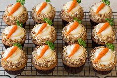 Carrot Cake Cupcakes with Cream Cheese Frosting | Cooking Classy Prep Time: 30 minutes Cook Time: 20 minutes Yield: 12 cupcakes- Here is a video on how to make the shapes if you find the directions confusing – make smaller than listed in the video though, and dip the toothpick in cocoa before rolling over carrots