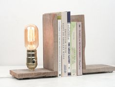 Salvaged Wood Bookends Rustic Lamp by WorleysLighting