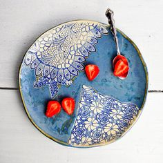 Ceramic serving plate dinnerware plate organic serving tray  blue lace texture