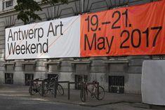 Visual identity for Antwerp Art Weekend designed by Antwerp based design studio Vrints-Kolsteren. Environmental Graphics, Environmental Design, Poster S, Typography Poster, Graphic Design Posters, Graphic Design Inspiration, App Design, Hoarding Design, Signage Display