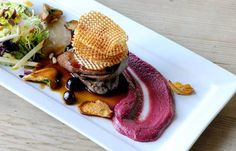 This is a classic wood pigeon recipe from chef Mark Dodson. Blueberry jus, beetroot purée and quirky potato crisps finish this wood pigeon recipe beautifully (pork tenderloin recipes with potatoes) Wood Pigeon, Potato Crisps, Creamed Potatoes, Great British Chefs, Potato Cakes, Beef Tenderloin, Venison, Food Plating, Plating Ideas