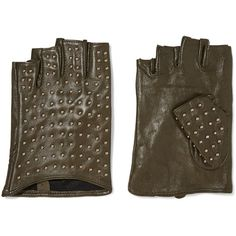 Karl Lagerfeld Studded leather fingerless gloves ($47) ❤ liked on Polyvore featuring accessories, gloves, army green, fingerless gloves, karl lagerfeld gloves, karl lagerfeld, studded fingerless leather gloves and leather gloves