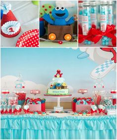 Elmo and Friends Party with LOTS of CUTE Ideas via Kara's Party Ideas Kara'sPartyIdeas.com #SesameStreet #Elmo #CookieMonster #BigBird #PartyIDeas #Supplies