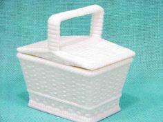 Vintage Westmoreland White Milk Glass Woven Basket Candy Bowl Dish Picnic Lid #westmoreland