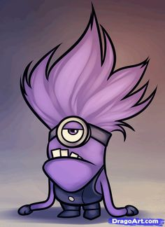 purple minion | How to Draw an Evil Minion, Despicable Me 2, Step by Step, Characters ...