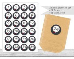 "www.papierbuedchen.de - DIY Adventskalender \"" Tüten & Aufkleber \"" (K8)"