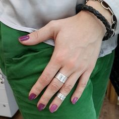 Set of two rings - mid-finger ringsTwo trendy rings for 2nd and 3rd falanges. Can be worn both as mid-finger rings or on different falangues of the same finger. Adjustable size. For trendy and stylish look.Amorem. Sterling silver. Handmade.