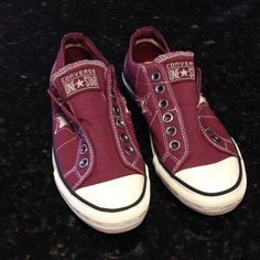 Dark Red Converse Slip On Sneaker Just like new, worn only once, super cute Converse One Star Sneakers in burgundy Converse Shoes Sneakers