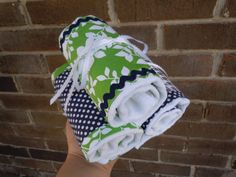 Cloth Diaper Burp Cloths ~ coordinating rick rack & ribbon detail ... additional idea would be to add ribbon to the outside of the center panel.