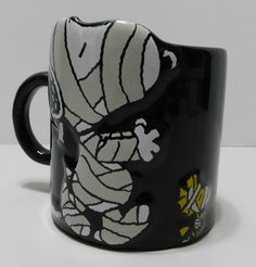 Peanuts Snoopy Woodstock Halloween Boo Ghosts Coffee Mug Black Porcelain 2015 #Peanuts