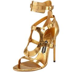 Tom Ford Triple-Buckle Metallic Sandal, Gold ($652) ❤ liked on Polyvore featuring shoes, sandals, heels, sapatos, high heels, metallic sandals, open toe high heel sandals, open toe sandals, gold sandals and tom ford shoes