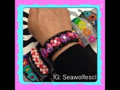 Rainbow Loom EYE CANDY Bracelet. Designed and loomed by Sea wolfe. Click photo for Youtube tutorial. 05/27/14.