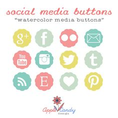 Social Media Icons for Blog and Website - Watercolor