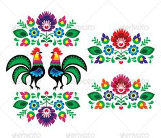 Polish Ethnic Floral Embroidery with Roosters  - Flourishes / Swirls Decorative