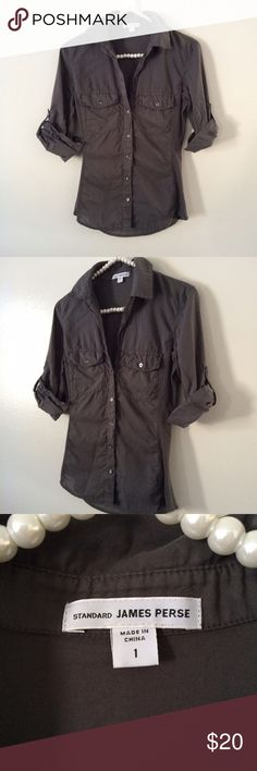 James Perse grey button down shirt Worn but In good condition. No flaws. James Perse Tops Button Down Shirts