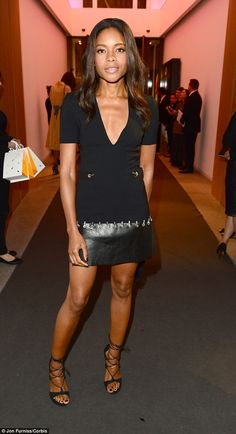 Simple and sexy: Naomie Harrisattended the She Inspires Art charity auction in London on Wednesday night