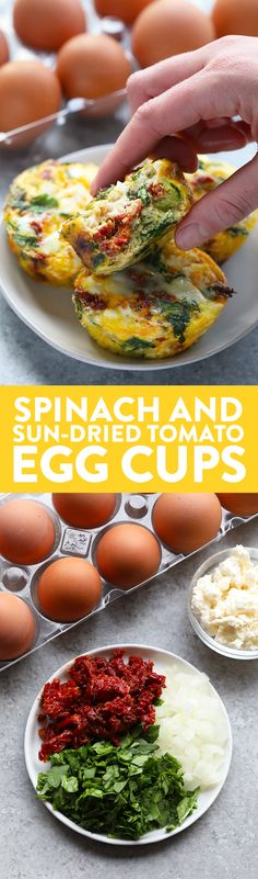 Cajun Delicacies Is A Lot More Than Just Yet Another Food You Are Going To Love These Flavorful Mediterranean Egg Cups. They're Made With Sun-Dried Tomatoes, Spinach, Onion, Fresh Basil, And A Little Feta Cheese Yum High Protein Recipes, Healthy Recipes, Healthy Breakfast Recipes, Egg Recipes, Diet Recipes, Healthy Eating, Cooking Recipes, Healthy Breakfasts, Party Recipes