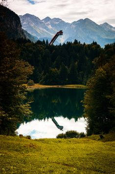 Ski flying hill and Freibergsee Mountain Landscape, Lakes, Skiing, Waterfall, Explore, Mountains, Travel, Landscape, Ski