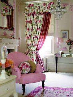 English country bedroom. floral drapery pink, white, and light taupe. Accents in yellow green.