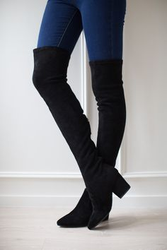 100ca398402  Ellis  Black Classic Over The Knee Suede Leather Boots