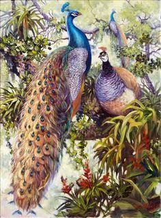 """3 Peacocks"" by Nia Nakis.  SOLD!"