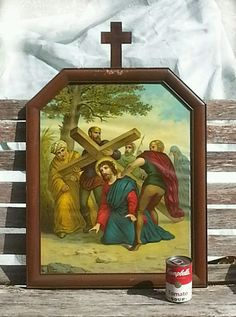 Antique 19th c. 3rd STATION of the CROSS MAHOGANY WOOD FRAME ~ Leiber Lithograph
