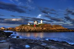 nubble lighthouse at york beach, maine - family vacation spot since the early New England Lighthouses, Maine Lighthouses, Places Around The World, Around The Worlds, Places To Travel, Places To Go, Visit York, York Beach, Family Vacation Spots