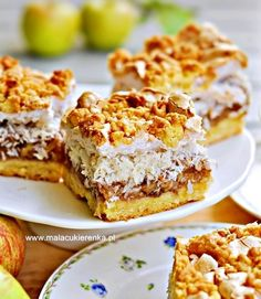 cider with coconut and Sweet Recipes, Cake Recipes, Dessert Recipes, Carrot Cake Cheesecake, Good Food, Yummy Food, Cake Bars, Polish Recipes, No Bake Desserts