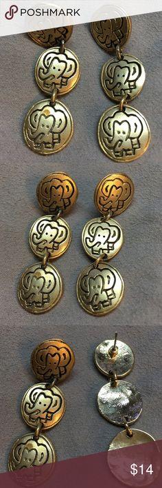 """Elephant Pierced Earrings gold  tone Elephant Pierced Earrings gold  tone   Approximately 2"""" long x 1/2"""" wide.  NW. Dangle. Jewelry Earrings"""