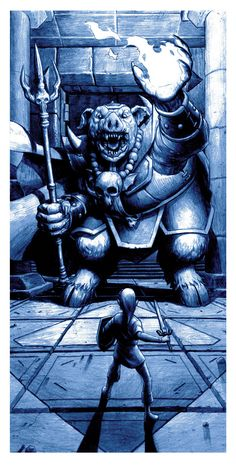 """BOSS FIGHT!- Created by Nick Derington 12"""" X 24"""" screen prints available individually or as a set beginning January 13th, 2015 atNakatomi Inc.You can follow the artist onTumblr."""