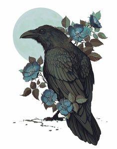 crow art with blue flowers Crow Art, Raven Art, Bird Art, Bird Drawings, Animal Drawings, Tattoo Drawings, Drawing Birds, Animal Illustrations, Design Illustrations