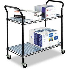 Safco Black 2 Shelf Wire Utility Cart